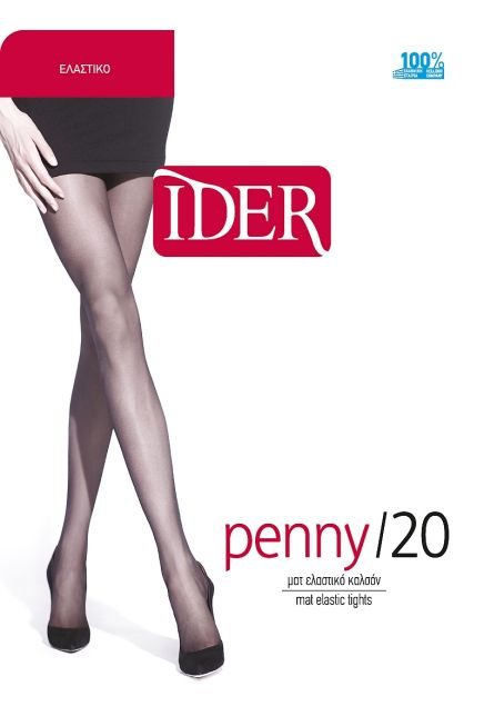 IDER PENNY- 20 DEN, MAT SHEER ELASTIC TIGHTS WITH REINFORCED