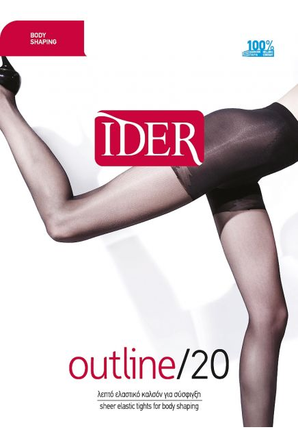 OUTLINE 20DEN BODY SHAPING ULTRA SHEER REINFORCED ELASTIC TIGHTS, SHAPING THIGH PANTY