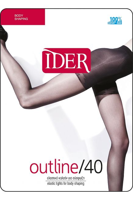 OUTLINE 40DEN BODY SHAPING ULTRA SHEER REINFORCED ELASTIC TIGHTS, SHAPING THIGH PANTY