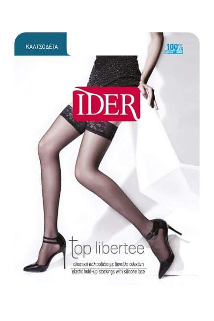 TOP LIBERTE LYCRA 15DEN SHEER ELASTIC HOLD-UPS WITH SILICONE LACE