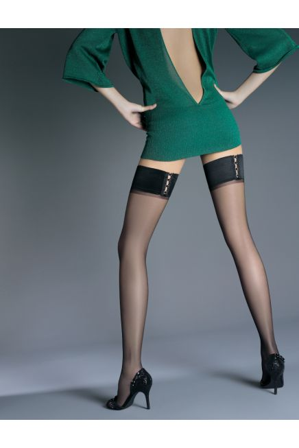 ELEGANCE 15DEN SHEER ELASTIC HOLD-UPS WITH STRASS TRUPS ON BAND