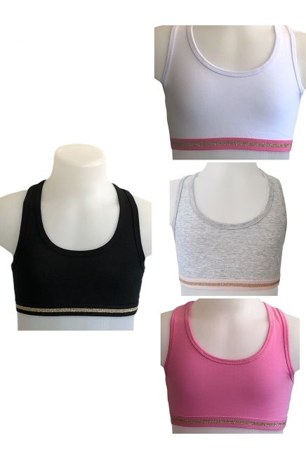 2-PACK BASICS GIRL ELASTIC COTTON CROP TOP WITH ATHLETIC BACK AND EXTERNAL LUREX STRIPED BAND