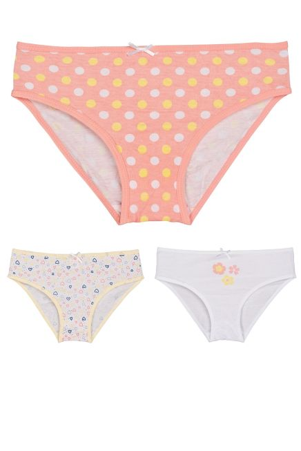 3-PACK GIRL COTTON KNICKER FLORAL/HEARTS/POIS PATTERN