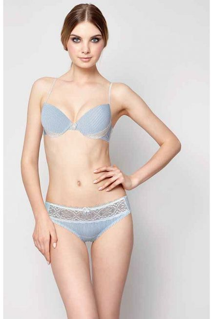 PUSH UP BRA IN STRETCH COTTON & LACE DETAILS