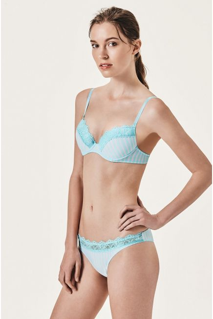 MICROFIBRE PADDED BALCONY BRA WITH LACE