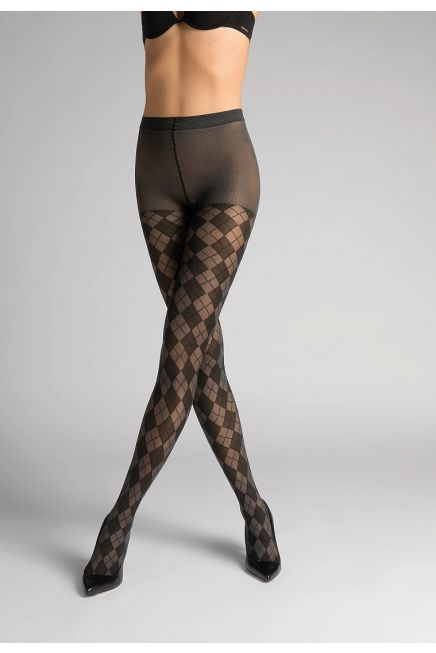 POMPEA KARINA - Fashion Stretch Opaque Tights with Checked Pattern.
