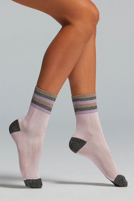 CZ FENICIA WOMAN VISCOSE SOCKS WITH TOE, HEEL AND CUFF IN LAME