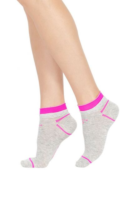 CZ ACTIVE UP RUN WOMAN COTTON ANKLE SOCKS FLUO BAND