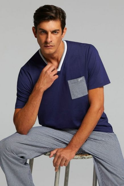 PJ TRISTAN MAN COTTON PYJAMAS. T-SHIRT V NECK AND POCKET SOLID COLOR. LONG TROUSERS IN WOVEN FABRIC