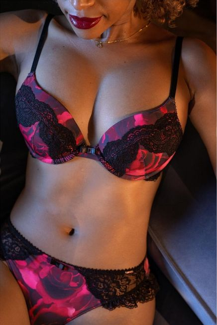 RIVERA 3/4 CUP BRA PUSH UP DEMI FLORAL PRINT WIRED WITH LACE ECO LINE