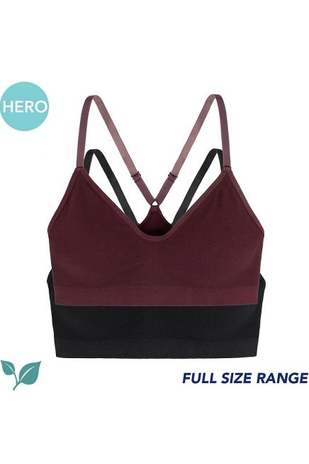REVIVE-2PP BRALETTE WOMAN MICROFIBRE TOP ECO LINE WITH X ATHLETIC BACK WIRELESS MOLDED WITH REMOVABLE PADS 2PCS