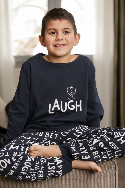 """BOY KIDS COTTON PYJAMAS """"LAUGH"""" AND LETTERING PANTS PRINT PATTERN AND ANKLE CUFFED LEGS"""