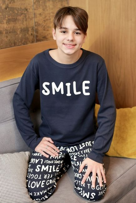 """BOY TEENS COTTON PYJAMAS """"SMILE"""" AND LETTERING PANTS PRINT PATTERN AND ANKLE CUFFED LEG"""