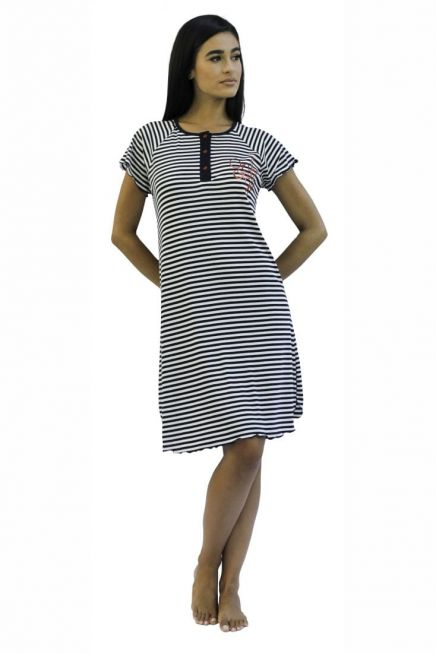 WOMAN DRESS COTTON SPORT WITH STRIPES AND SHORT SLEEVES