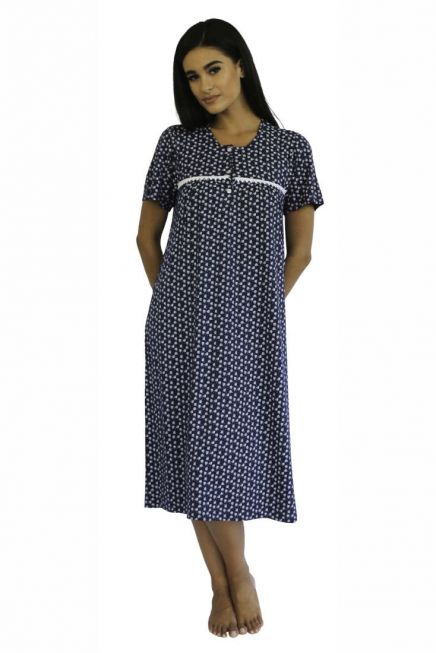 WOMAN COTTON PATTERNED NIGHTGOWN SHORT SLEEVES IN PLUS SIZES TOO