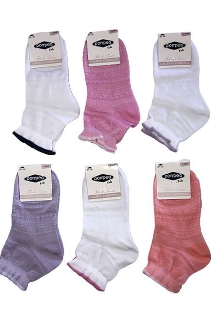 6-PACK DIANA GIRL MERCERIZED COTTON SOCKS WITH PATTERN