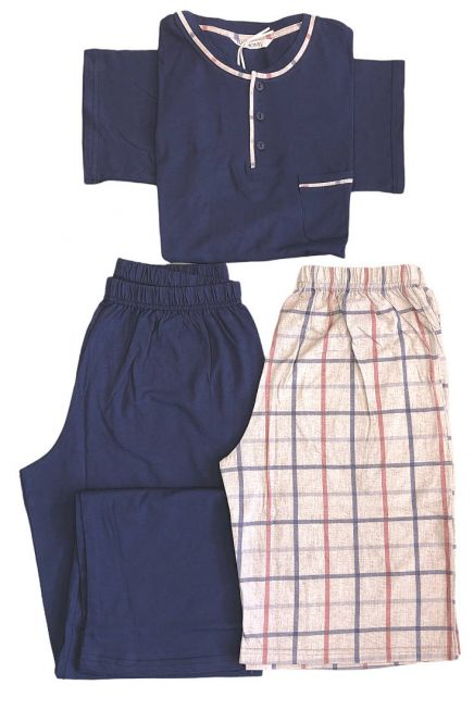MAN COTTON PYJAMAS SET 3-PIECES SHORT SLEEVES OPEN BUTTONS NECK CHECKED PATTERN BERMUDA AND LONG UNI