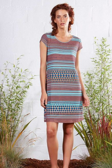 WOMAN DRESS ALPHA LINE SHORT SLEEVES OPEN NECK OVER KNEE POIS AND STRIPES PATTERN