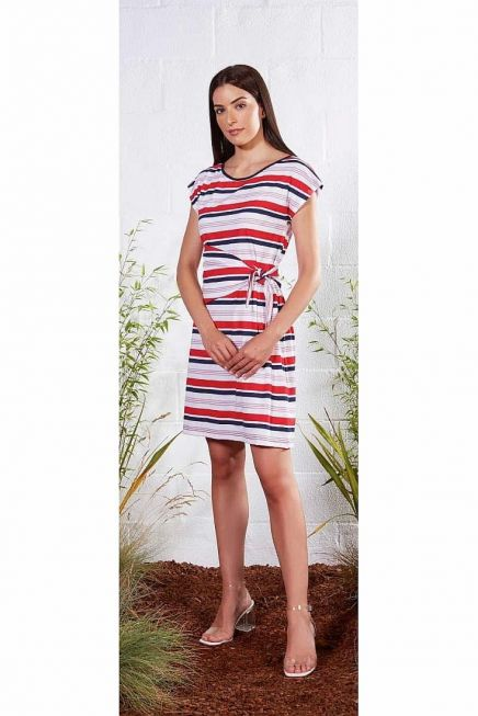 WOMAN DRESS SHORT SLEEVES OPEN NECK OVER KNEE WITH BELT IN WAIST STRIPES PATTERN