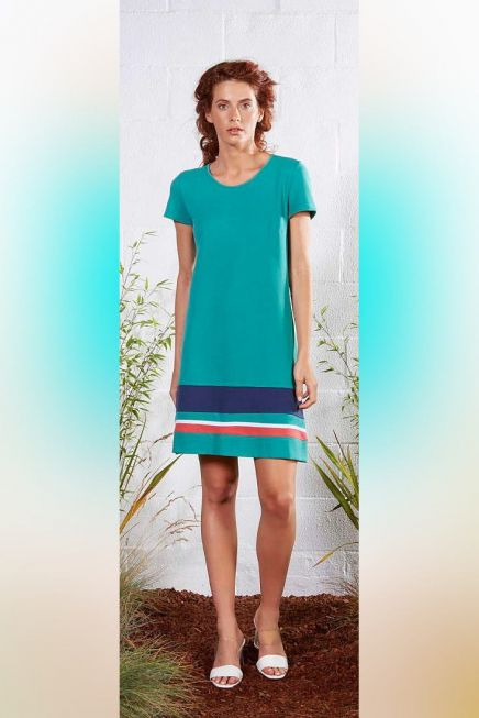 WOMAN DRESS ALPHA LINE SHORT SLEEVES OPEN NECK OVER KNEE MONOCOLOR AND STRIPES FINISHING