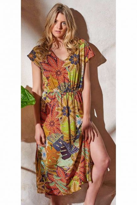 WOMAN MIDI DRESS WITH SIDE OPENINGS SHORT SLEEVES AND LEAVES DESIGN
