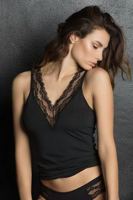 MAGIC DREAM - LARGE STRAPS TANK TOP WITH LACE & DOTS