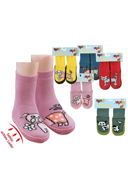 KIDS SOCKS SHOES WITH SOLE IN LEATHER AND MOTIF
