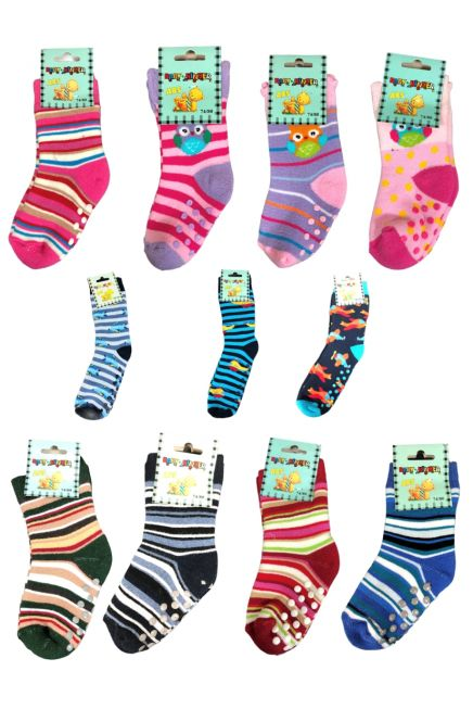 SOCKS 4 FUN- BEBE COTTON SOCKS WITH ABS AND MOTIFS ( 1PAIR )