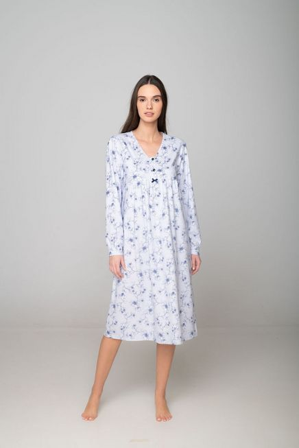 WOMAN COTTON LONG NIGHTDRESS WITH BUTTON OPENING AND FLORAL PATTERN