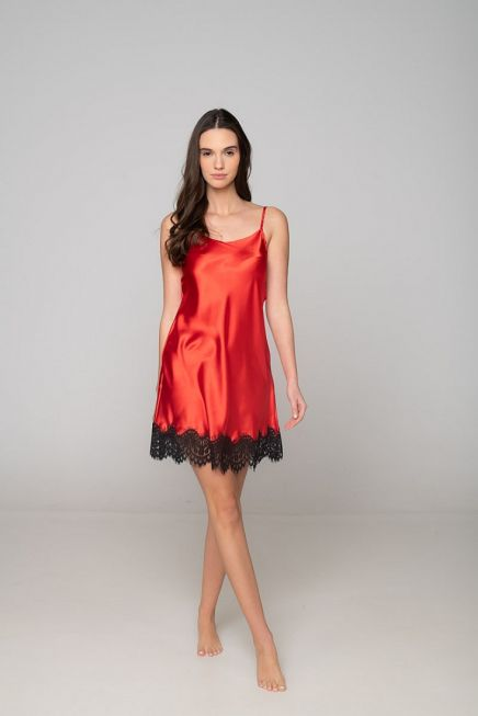 WOMAN SATIN NIGHTDRESS PLAIN WITH CONTRAST LACE TRIMMING