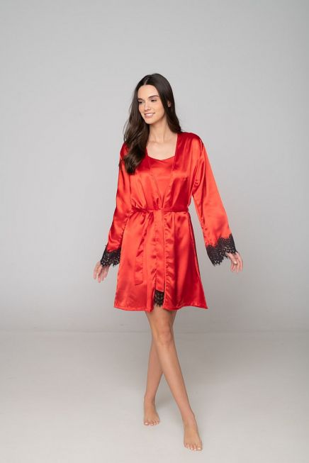 WOMAN SATIN ROBE PLAIN WITH CONTRAST LACE TRIMMING