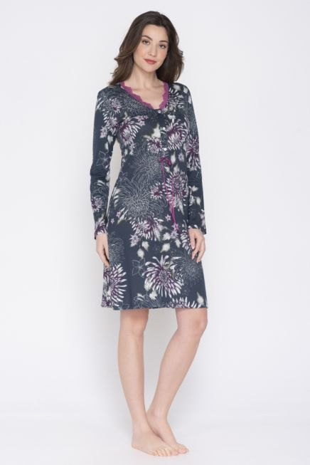 JEANNETTE - WOMEN PRINTED NIGHTDRESS WITH LACE