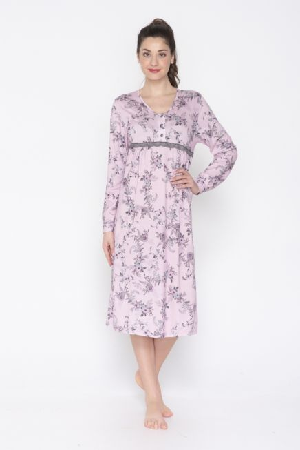 JEANNETTE - WOMEN CLASSIC NICHTDRESS WITH LACE