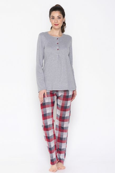JEANNETTE- WOMEN COTTON CKECKED PYJAMAS SET IN TWO COLORS