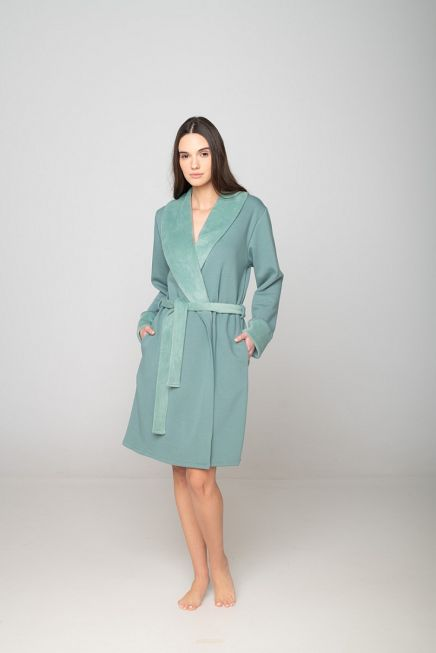 WOMAN COTTON VELOUR ROBE LONG PLAIN WITH SHINY LAPELS SLEEVE CUFFS AND BELT