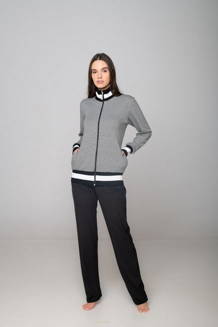 WOMAN COTTON VELOUR TRACKSUIT STRIPES AND FISHBONES PATTERN ZIP UP POCKETS AND OPEN LEG